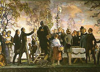 A painting showing a large group of people dressed in 19th century clothing toasting by a long table.