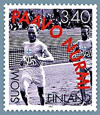 Paavo Nurmi featuring in a stamp