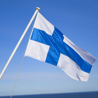 Finnish Flag with a blue background