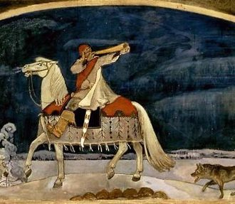 A painting of a man riding a white horse and blowing in a long horn.