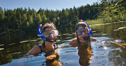 In Southern and Central Finland the summers are warm enough for people to bathe in lakes and also often along the shores of the Baltic Sea.