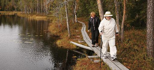 Viele Finnen halten sich mit Nordic Walking fit. Dieser Sport erfreut sich auch in anderen Ländern zunehmender Beliebtheit. Finnlands vielfältige Landschaft bietet gute Möglichkeiten für Aktivitäten an der frischen Luft.