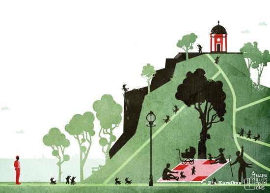 "Illustration by Ilja Karsikas for Antti Nylén's short story ""Kaivopuisto"""