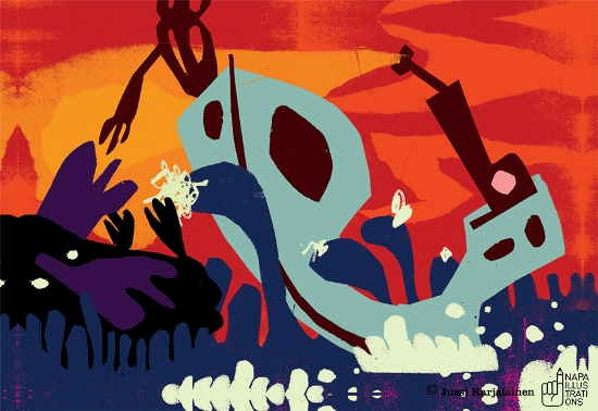 """Illustration by Jussi Karjalainen for Leena Parkkinen's short story """"Tero-Matti Holopainen"""""""