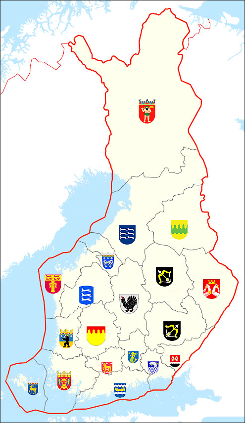 A map of Finland with the coat of arms of the different regions.