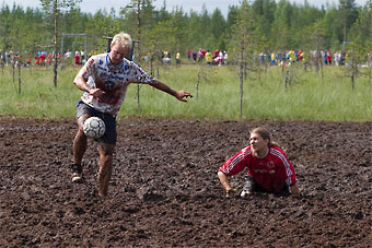 Hyrynsalmi is best-known for its ski resort Ukkohalla and the annual swamp soccer world championships (above).
