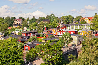 Porvoo old town consists of medieval streets with predominantly wooden houses.