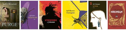 """Удостоенная награды книга Софи Оксанен """"Очищение"""" является очень популярной в почти 40 различных странах. Слева направо: в Великобритании, Германии, Швеции, Венгрии, Италии и Исландии. (Нажмите на фотографии малого размера - они раскроются перед вами в полном объёме)"""