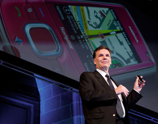 Olli-Pekka Kallasvuo, President and CEO of Nokia at the Mobile World Congress 2008.
