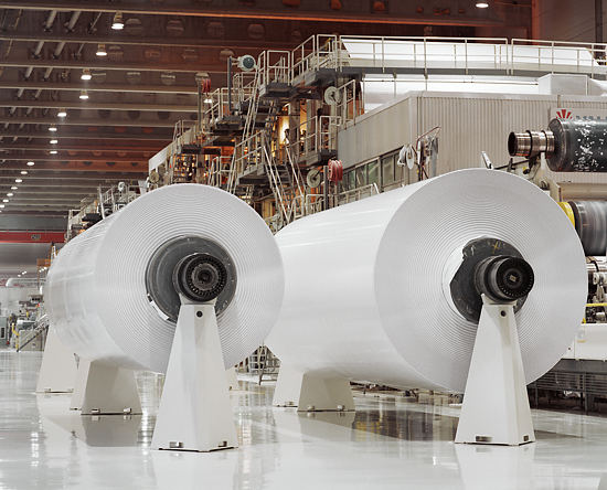 Finland has three major international forest corporations. In the picture jumbo rolls at Stora-Enso Mill in Oulu, Finland.