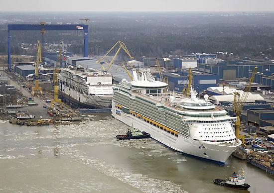 Cruise ships at a shipyard.