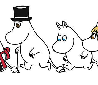 The Moomins on the path to adventure, from left: Moominmamma, Moominpappa, Moomintroll and the Snork maiden.