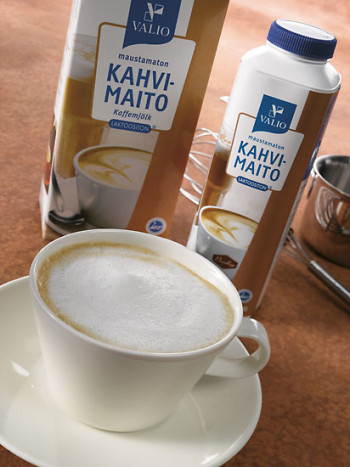 A cup of cappuccino beside cartons of lactose free milk.