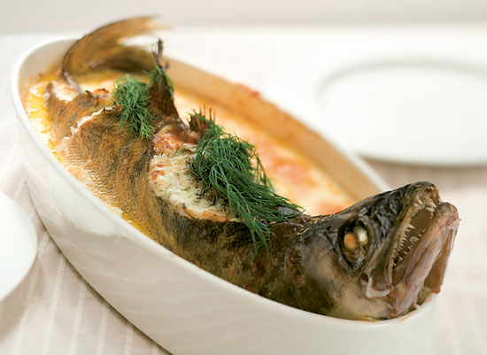 A pikeperch baked whole.