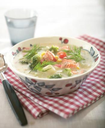 A bowl of salmon soup.