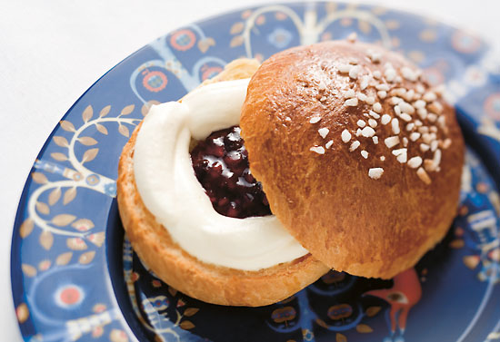 A cream and jam-filled Shrove bun.