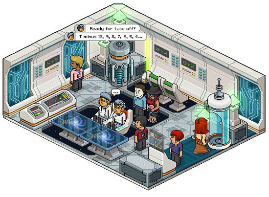 A screenshot from Habbo Hotel.