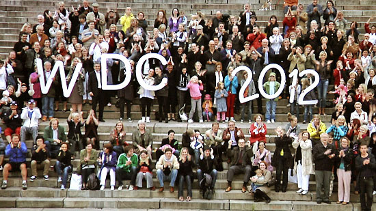 A large crowd of people gathered in front of the Helsinki Cathedral holding the letters W, D and C and the number 2012.