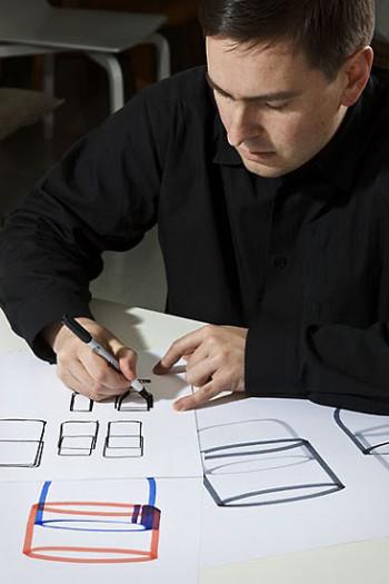 Harri Koskinen at his design table.