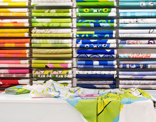 Stacks of colourful fabrics.