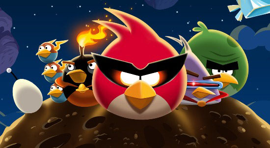 An illustration of the Angry Birds on a comet in space.