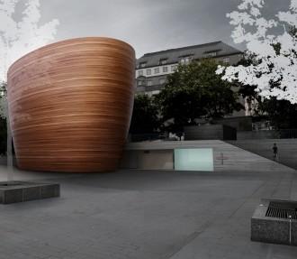 Вид со стороны площади Наринкка. Так дизайнер представляет Часовню тишины спокойным утром.