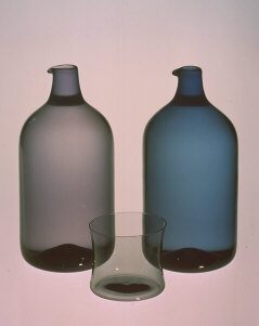 Bird bottles and glass in i-colours. 1956. Blown. Iittala Glassworks, Finland. i-colours, blue-grey, lilac-grey, smoke-grey and greeny-grey were developed by Timo Sarpaneva at Iittala Glassworks 1956.
