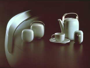 Suomi Porcelain tableware; coffee pot, cup and creamer sugar pot and jar with steel handle 1974. Rosenthal Ag, Selb, Germany. President of Italy's gold medal, Faenza 1976.