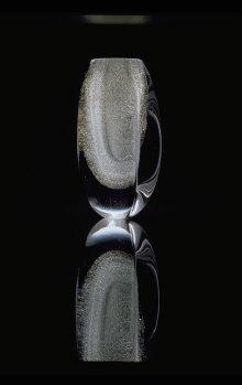 Claritas art glass, blister effect, 1984 Height 280 mm. Hand shaped. Iittala Glassworks, Finland