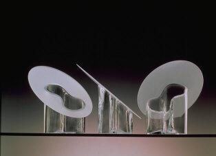 Marcel Vases, clear and sandblasted glass. Handblown. 1992. Hackman Designor, Finland