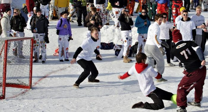 Outdoor fun: This game of snow soccer is brought to you by student associations at Jyväskylä University.