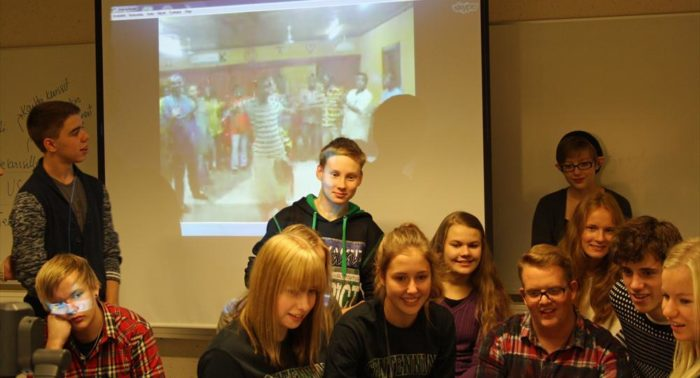 Finnish and Canadian students participating in an exchange programme in Seinäjoki, Finland talk to students in Ghana on Skype.