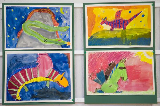 Kids' colourful paintings.