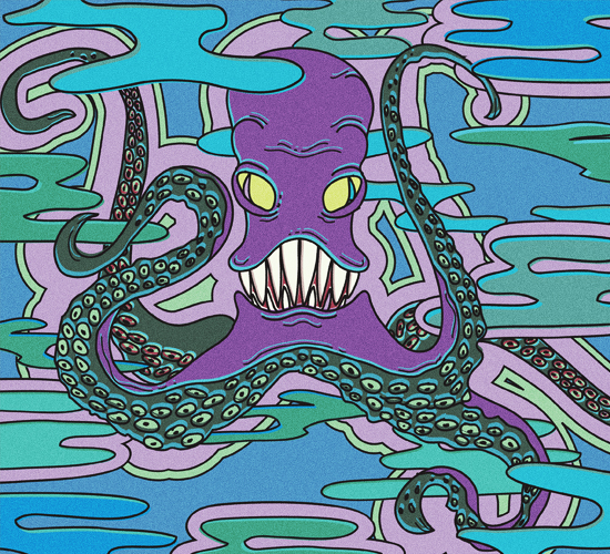 An illustration of a purple octopus with long sharp teeth floating in the water.