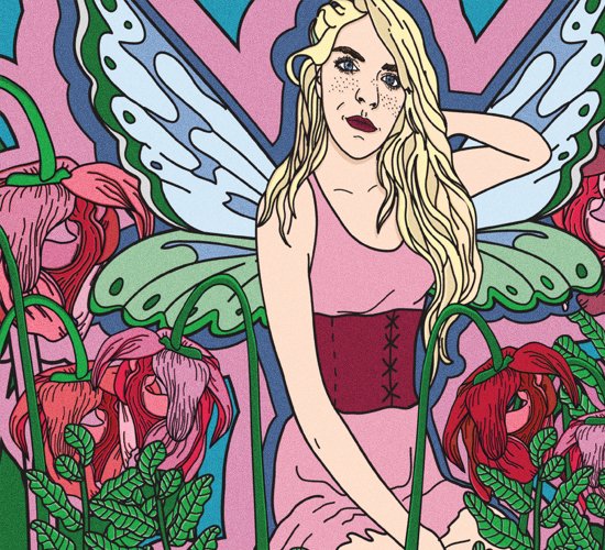 An illustration of a blonde and freckled fairy in a pink dress sitting among red flowers.