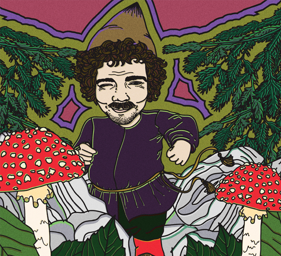 An illustration of a smiling imp with dark curly hair and moustache standing next to some amanita mushrooms.