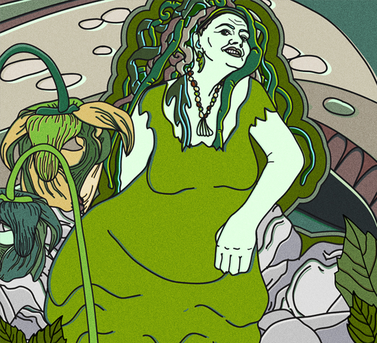 An illustration of a lady with greenish skin, algae hair and a green dress sitting on rocks.