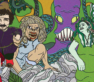 A colourful illustration of Finnish mythical creatures.