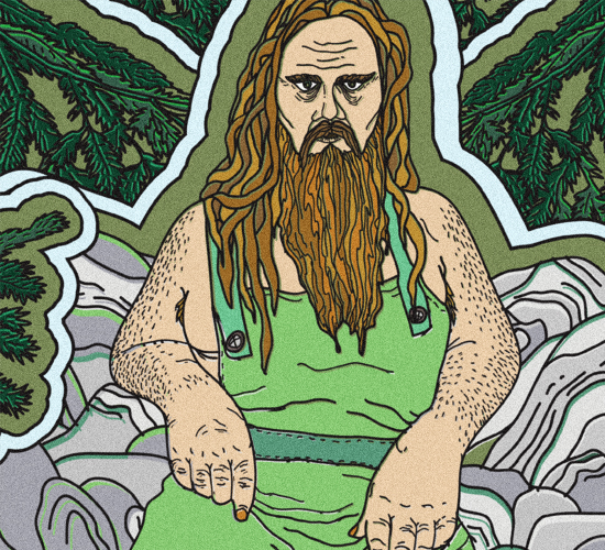An illustration of a long-haired and bearded troll dressed in green overalls sitting in the forest.
