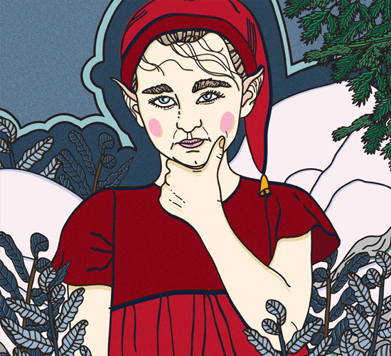 An illustration of a thoughtful-looking elf in a red dress and beanie.