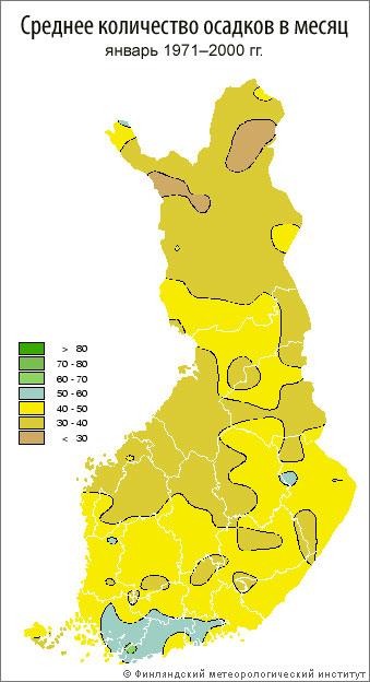 Среднее количество осадков в месяц, январь 1971–2000 гг.