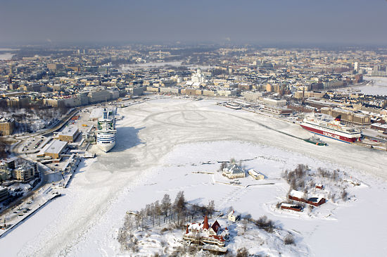 An aerial view of Helsinki South Harbour in winter.