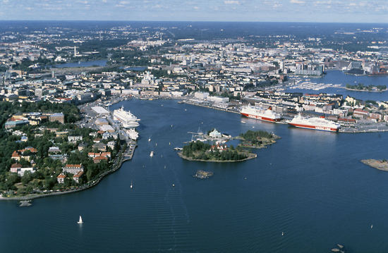 An aerial view of Helsinki South Harbour in summer.