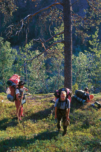 Hikers with big backpacks walking in a forest.