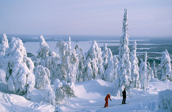 A snowy landscape with two skiing people.