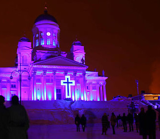 Purple to the people: Helsinki Cathedral forms the focal point of Mikki Kunttu's light show Mercy.