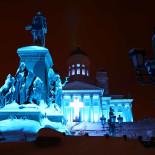 Senate Square's statue of Tsar Alexander II receives its share of light in Mikki Kunttu's <i>Mercy</i>.