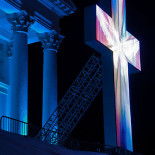 The LED cross, installed in front of the cathedral especially for the Season of Light, shows a slowly altering pattern. At times an angel-like figure can be discerned.