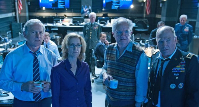 Meanwhile, back home in America, the officials played by Victor Garber, Felicity Huffman, Jim Broadbent and Ted Levine are dumbfounded by the disappearance of the President.