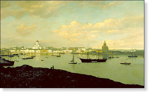 A painting showing the silhouette of Helsinki in the late 19th century.
